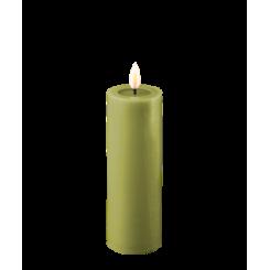 Olivengrøn Bloklys, Ø5 x 15cm.