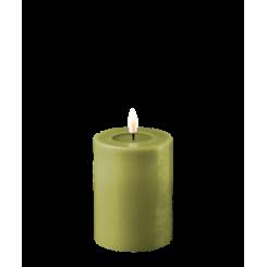 Olivengrøn Bloklys, Ø7,5 x 10cm.