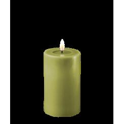 Olivengrøn Bloklys, Ø7,5 x 12,5cm.