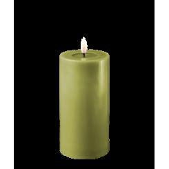 Olivengrøn Bloklys, Ø7,5 x 15cm.